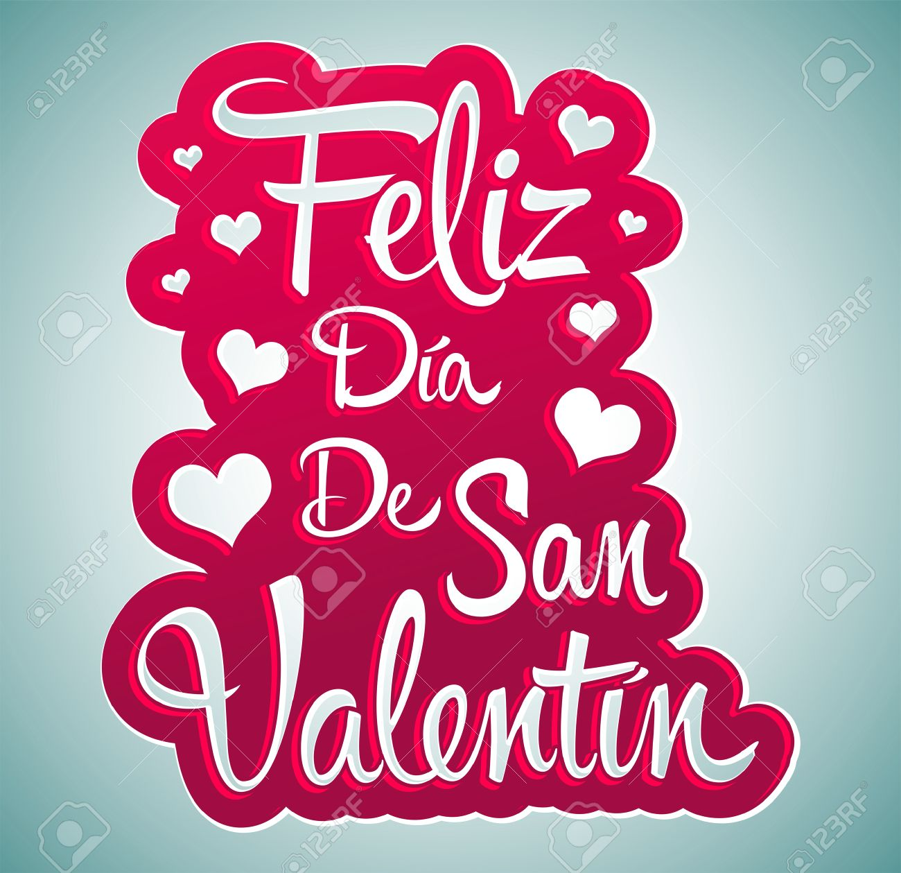 Feliz Dia De San Valentin Happy Valentines Day Spanish Text