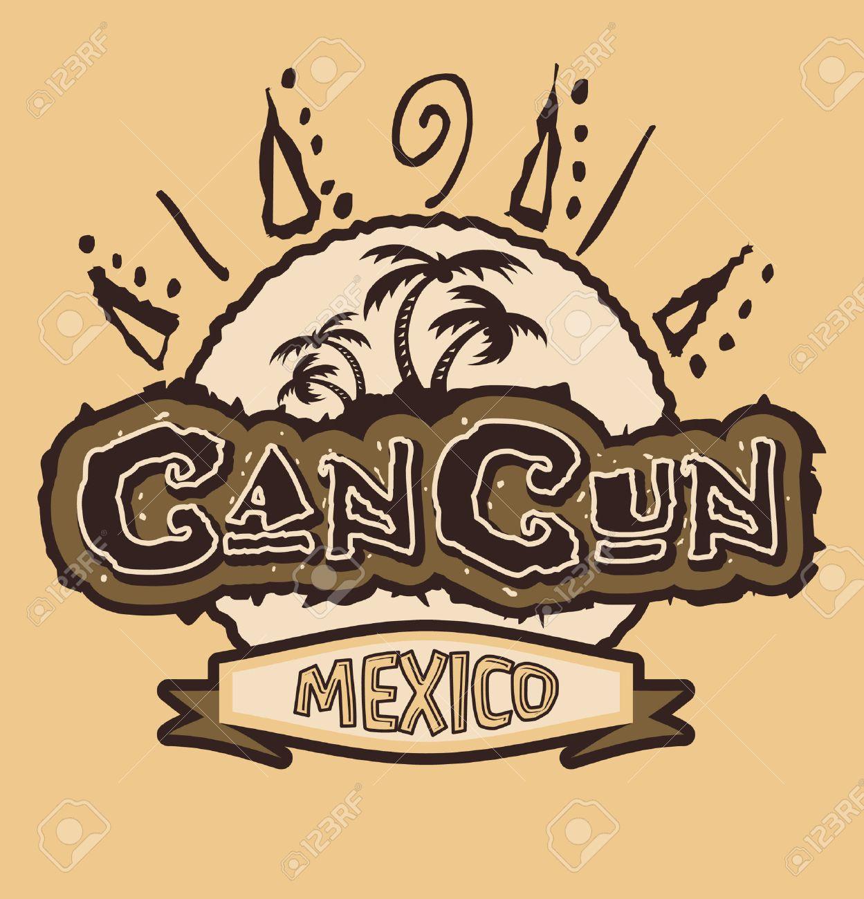 Cancun Mexico Vintage Vector Badge Emblem Shirt Print Royalty