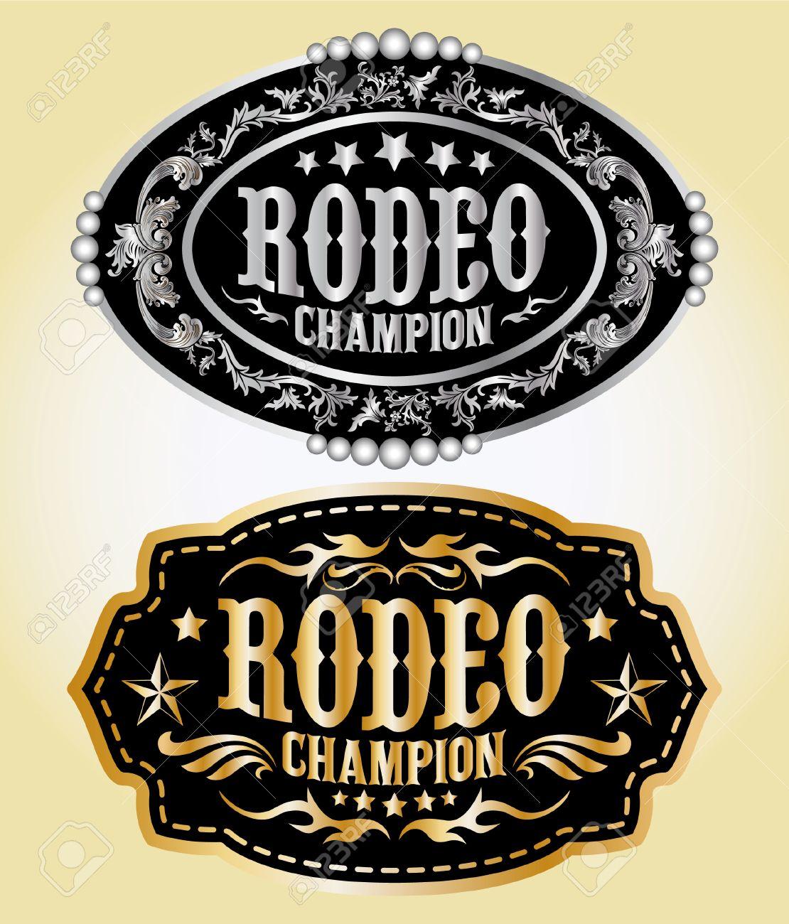 Rodeo Champion - cowboy belt buckle vector design - 26532643