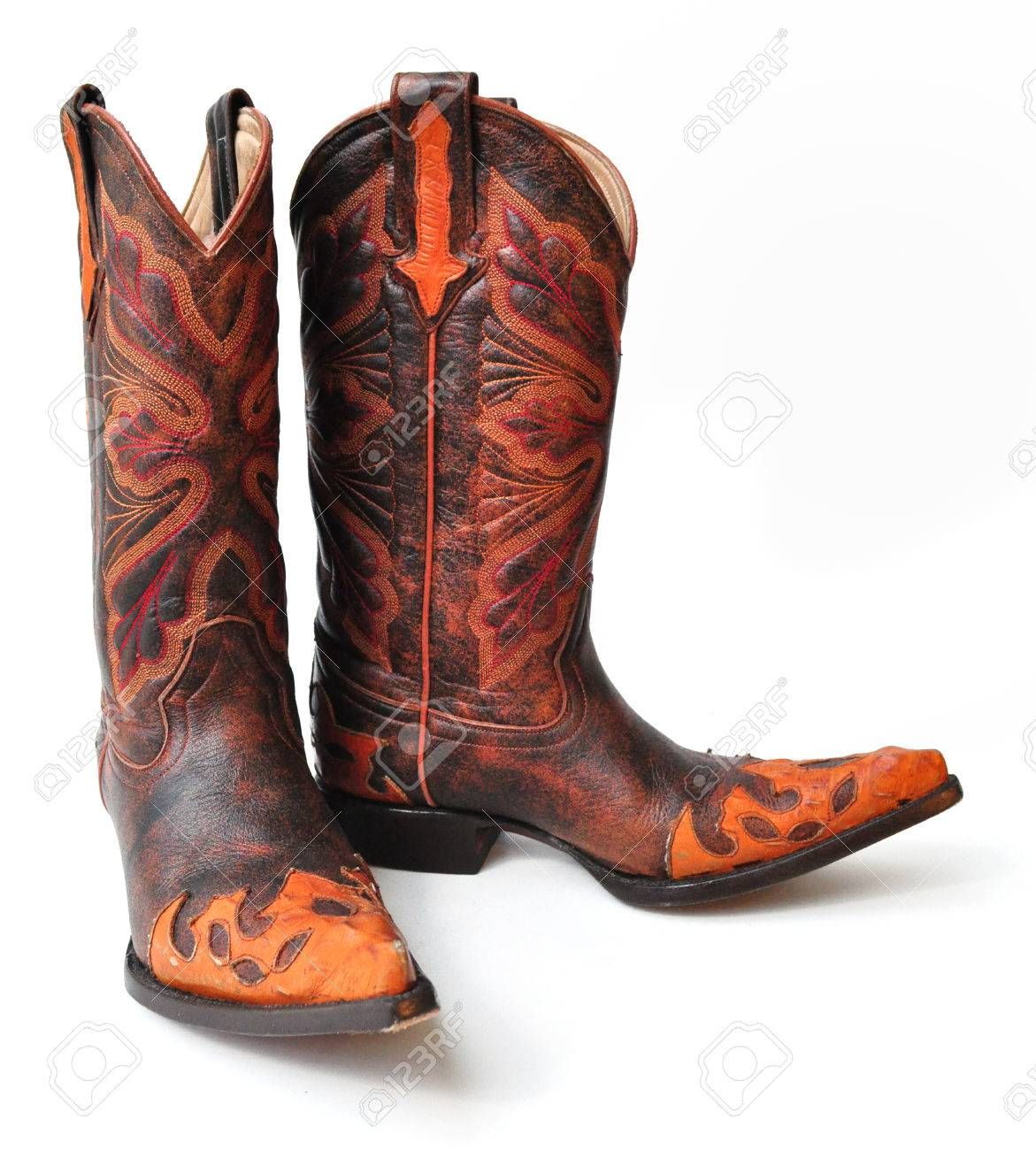 Leather Cowboy Boots On White Background Stock Photo, Picture And ...