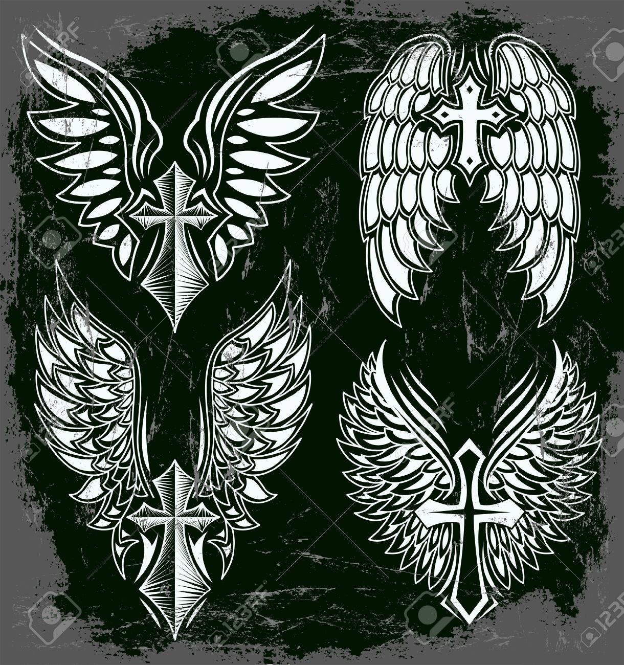 Vector Juego De Cruz Y Alas Tatuaje Elementos Estilo Oscuro