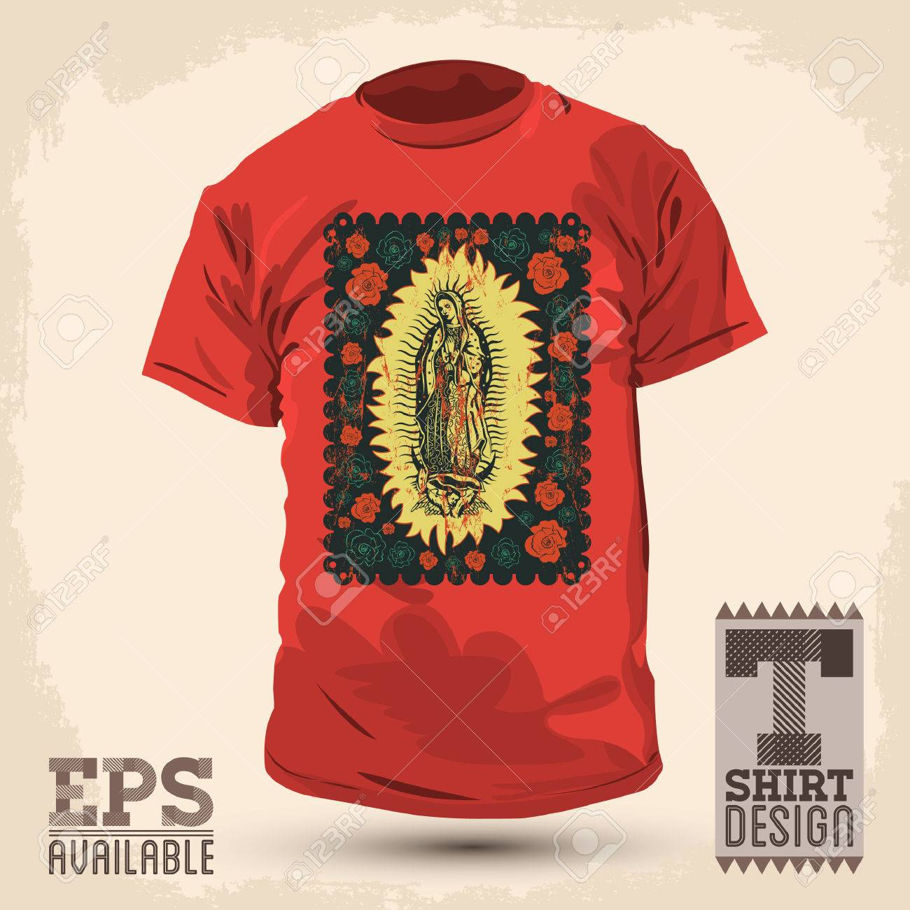 Shirt design vintage - Graphic T Shirt Design Mexican Virgin Of Guadalupe Vintage Silkscreen Style Poster