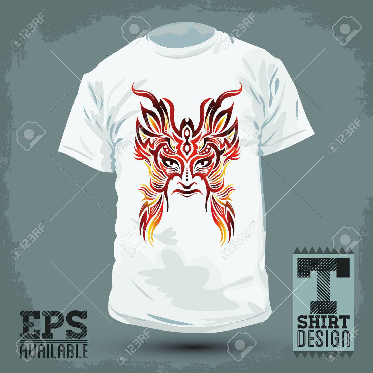 e3b32aa4 Graphic T-shirt design -Colorful Tribal mask - vector illustration Stock  Vector - 27700547