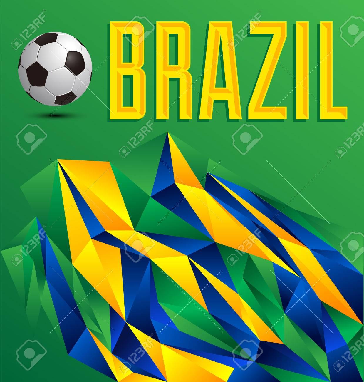 Brasil fondo abstracto geométrico con balón de fútbol Foto de archivo -  29485817 9ff04ac9b85ae