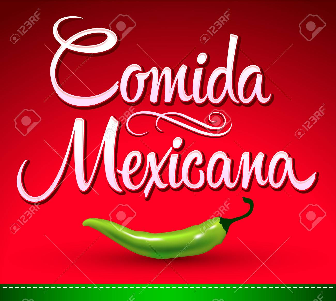 Comida Mexicana - Mexican Food Spanish Text - Jalapeno Pepper ...