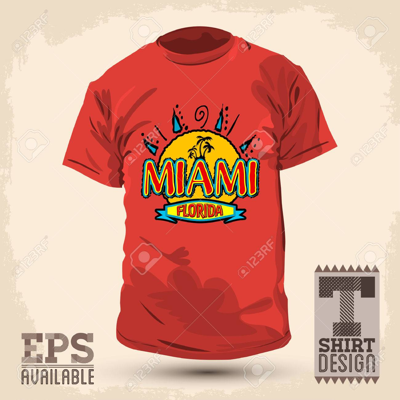 Graphic T Shirt Design Miami Florida Vector Illustration