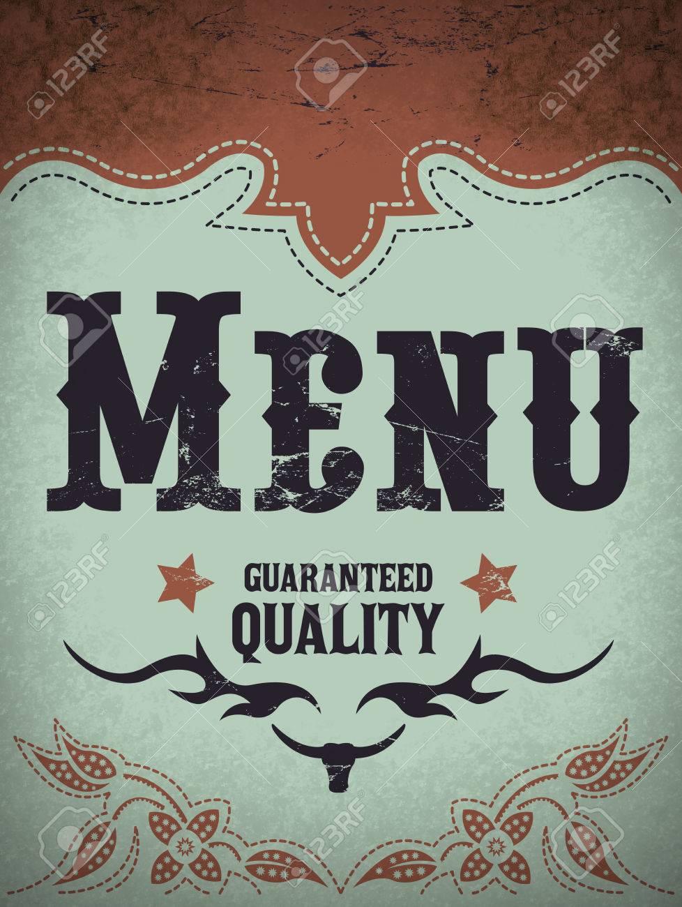 Vintage menu illustration - restaurant menu design - western style - 32551721