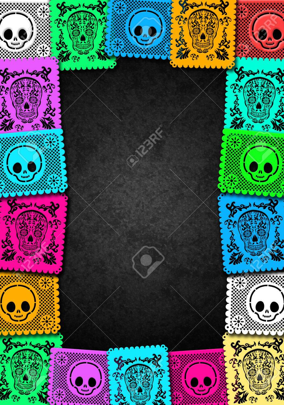 Mexican Day of the Death colorful poster template - frame - 32691154