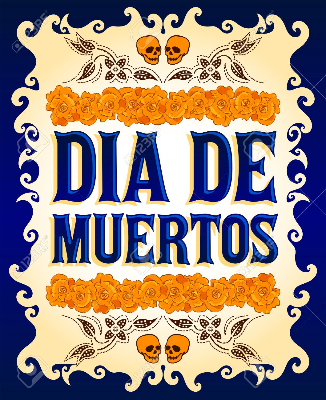 Dia De Muertos Mexican Day Of The Death Spanish Text And Flower