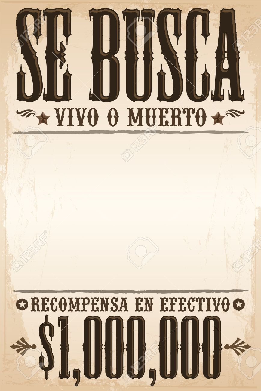 Se busca vivo o muerto, Wanted dead or alive poster spanish text template - One million reward - 33135847