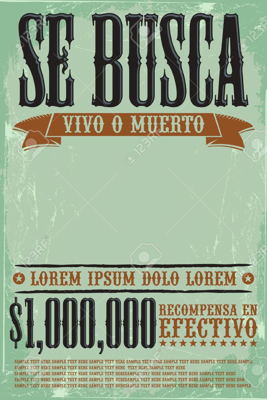 Se Busca Vivo O Muerto, Cartel Español Plantilla De Texto Se Busca ...