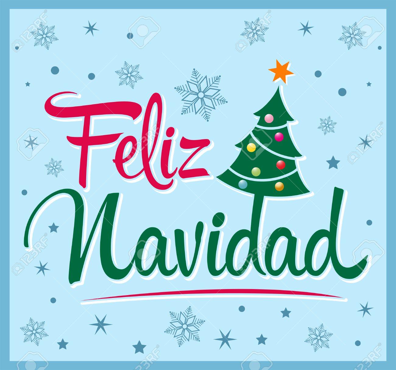Noel En Espagnol Feliz Navidad   Joyeux Noël Texte Espagnol   Arbre De Noël Vector
