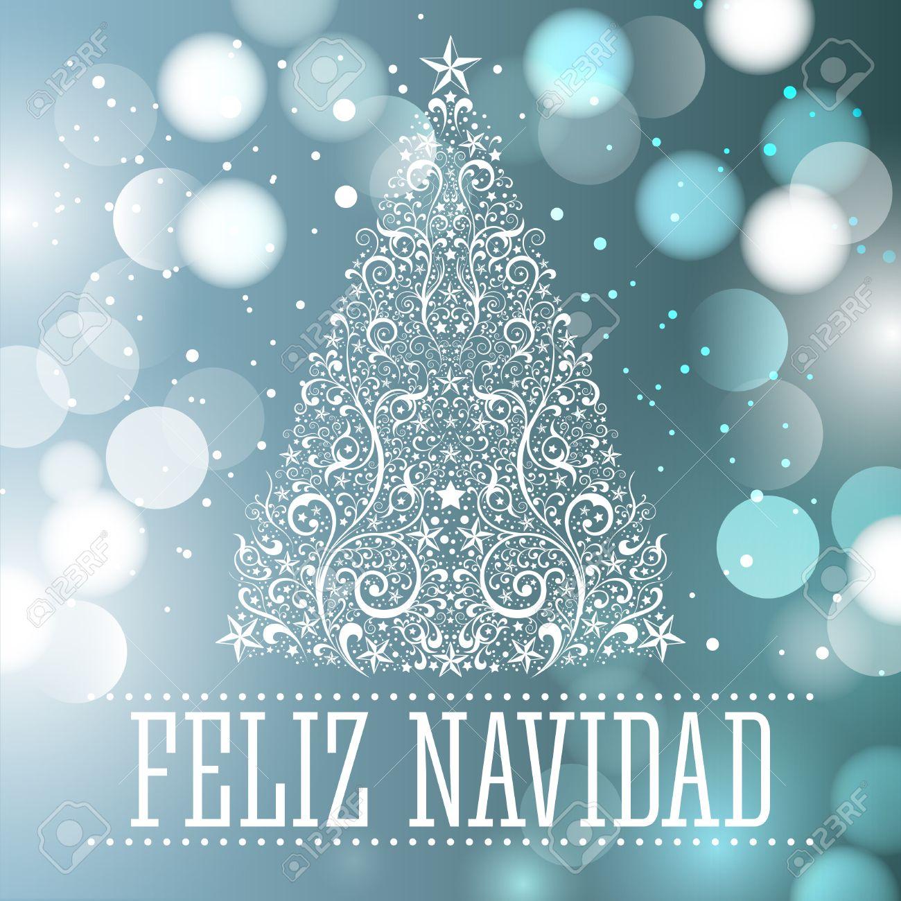 Merry Christmas In Spanish.Feliz Navidad Merry Christmas Spanish Text Card Vector Fantasy
