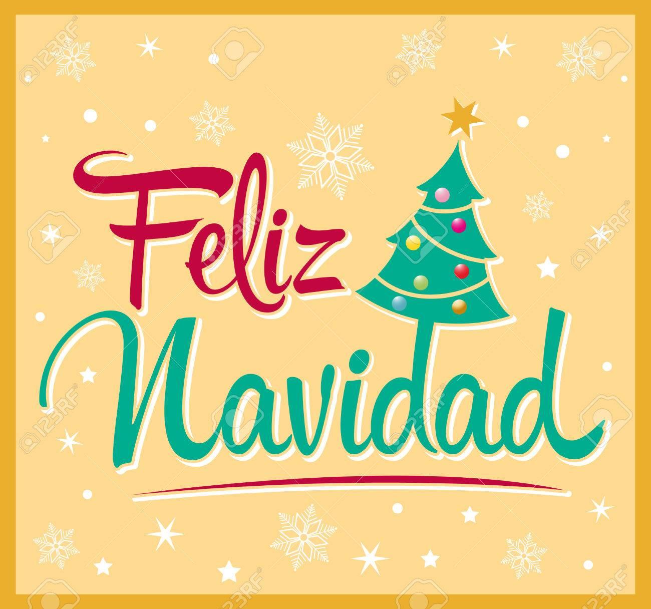 Felicitaciones De Navidad En Castellano.Feliz Navidad Feliz Navidad Texto Espanol Arbol De Navidad Del Vector