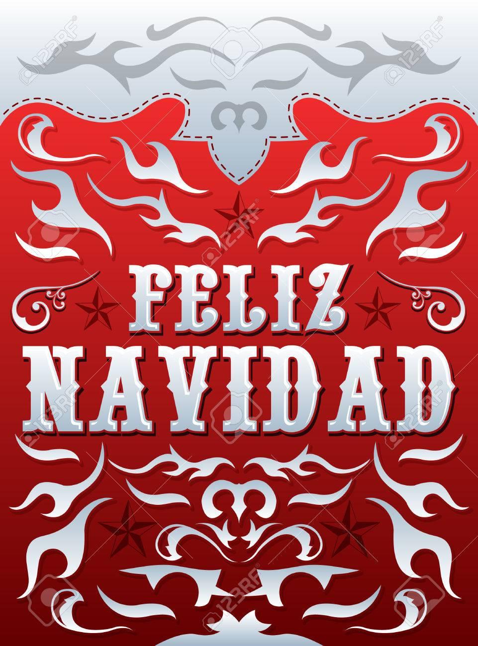 feliz navidad merry christmas spanish text vector card feliz navidad merry christmas spanish text vector card poster template western style