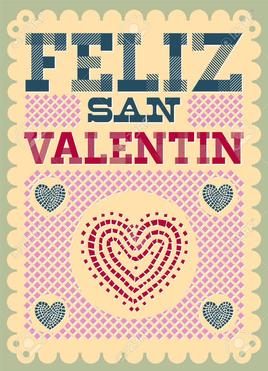 San Valentin Decoration Vintage Feliz San Valentin Happy Valentines Day Spanish Text