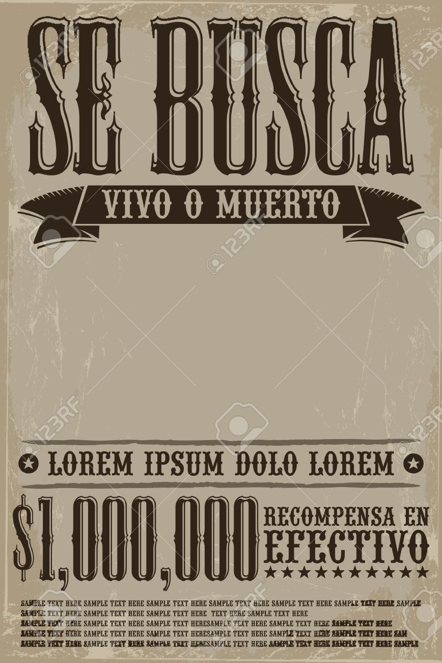 Se busca vivo o muerto, Wanted dead or alive poster spanish text template - One million reward - 35897421