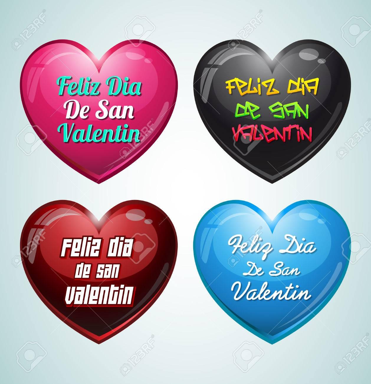Set Of Hearts Feliz San Valentin Happy Valentines Day In