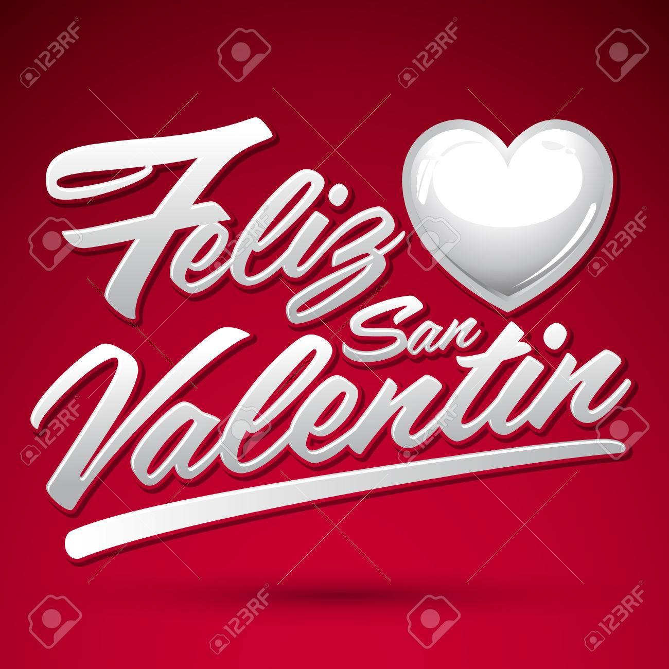 Feliz San Valentin Happy Valentines Spanish Text Vector