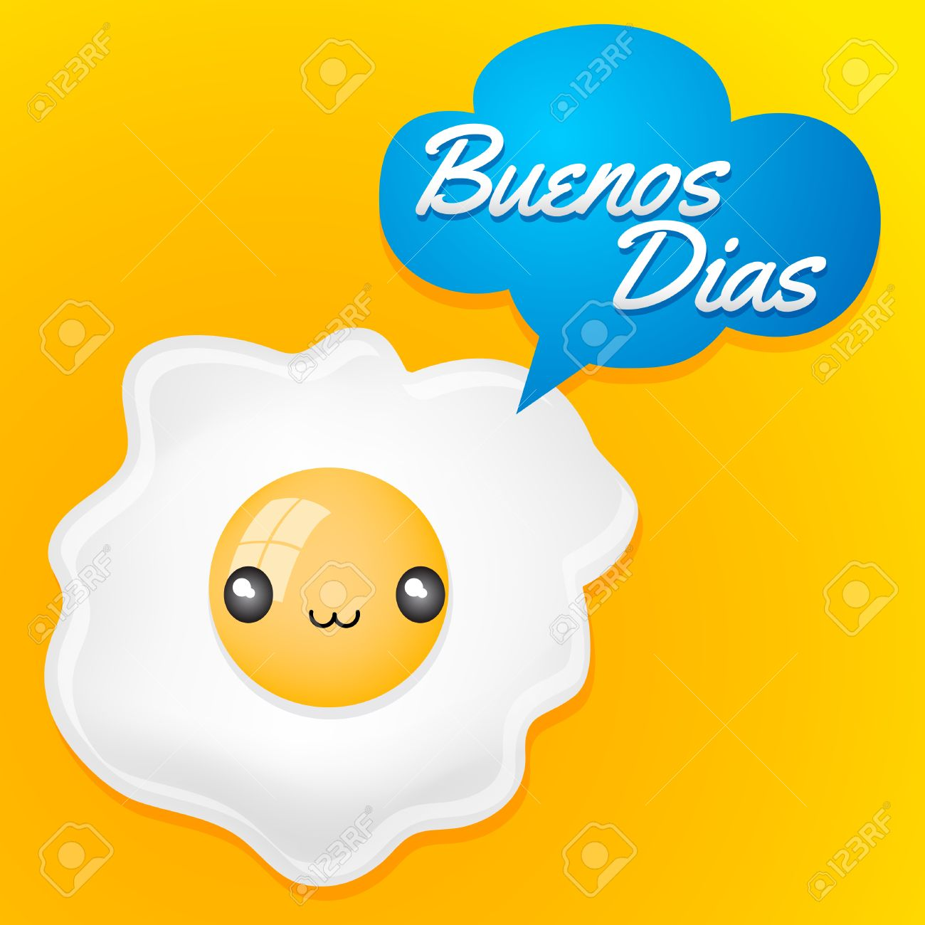 buenos dias good morning spanish text cute fried egg with