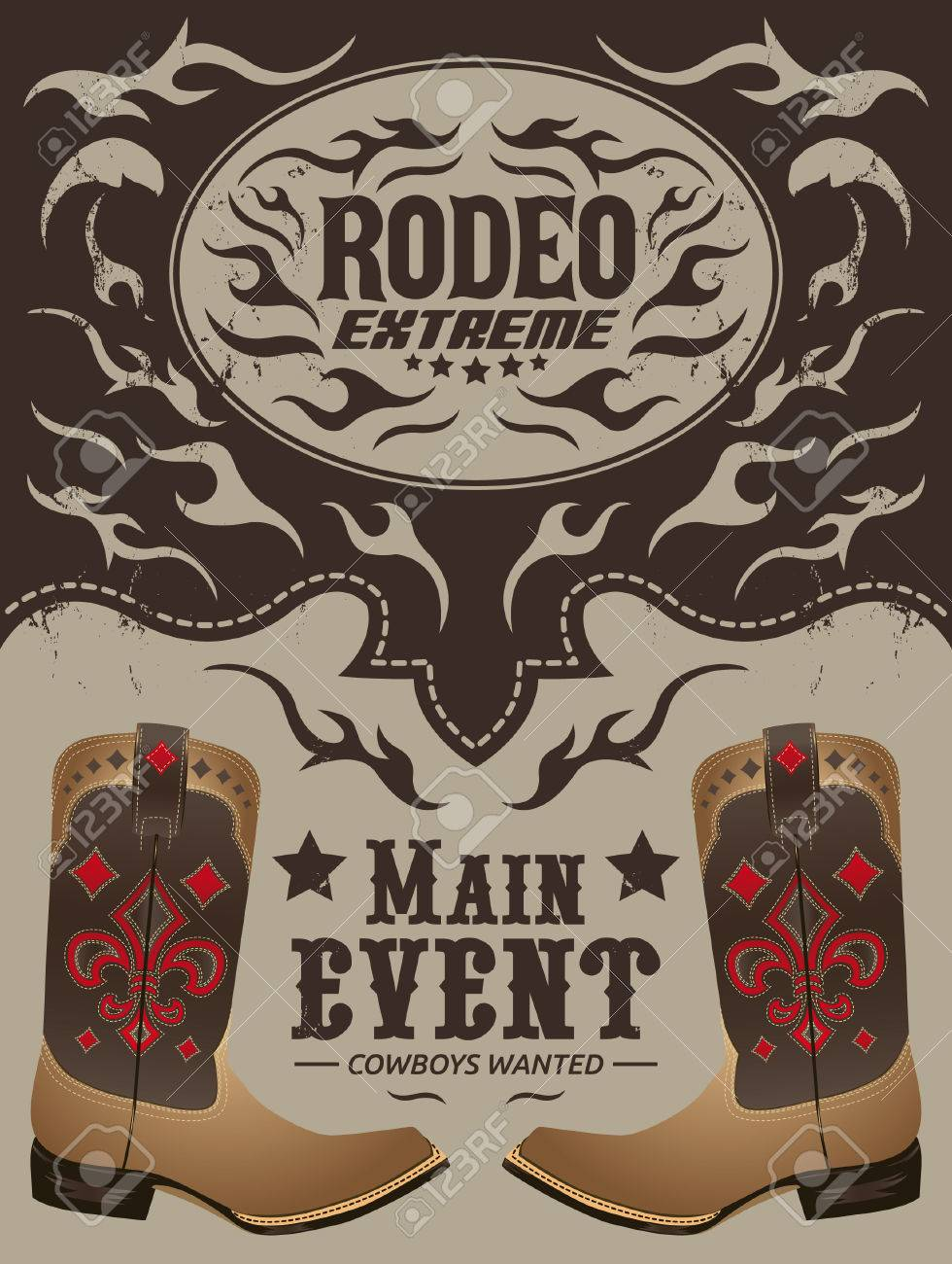 rodeo extreme cowboy event poster vector invitation template