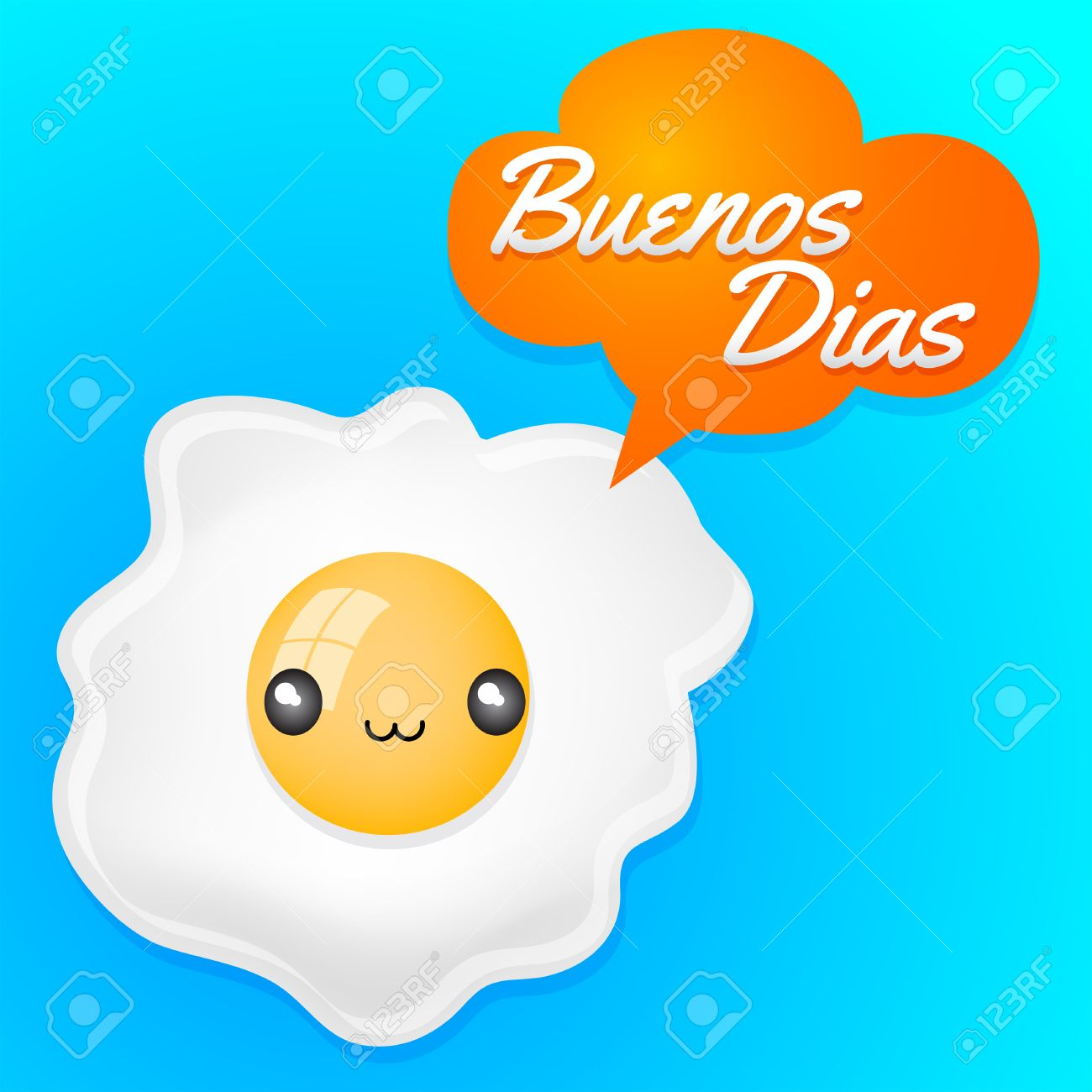 buenos dias good morning spanish text cute fried egg with balloon