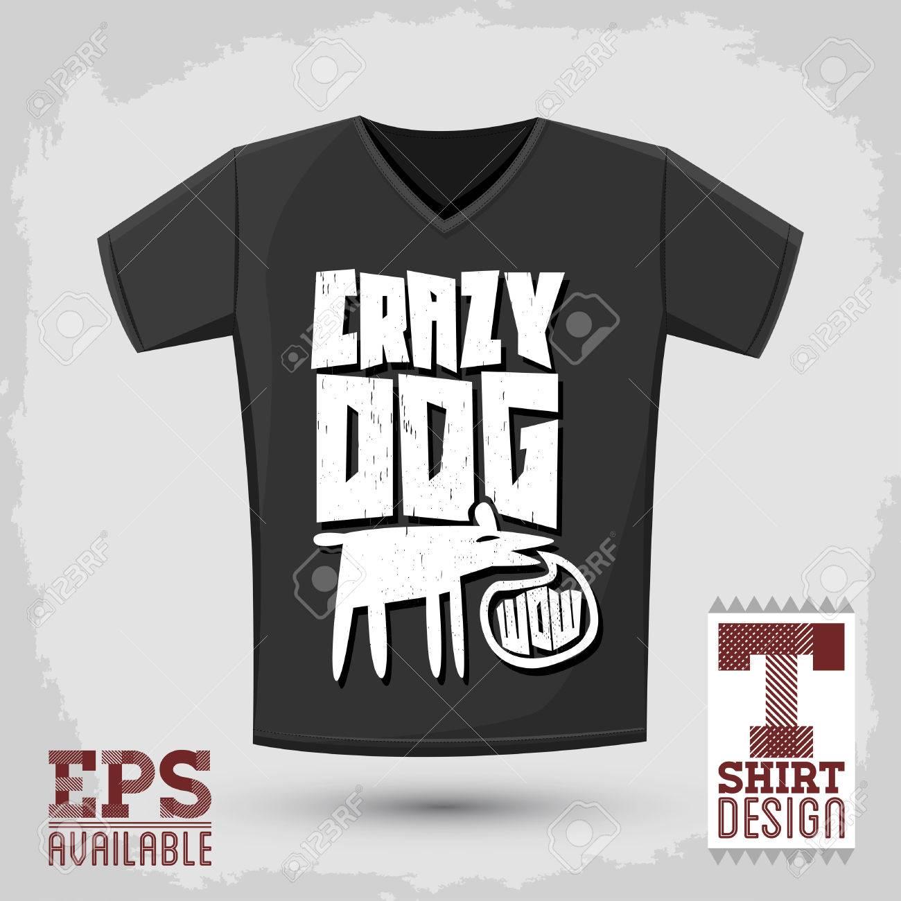 Graphic Tshirt Design Crazy Dog Vector Typographic Design Royalty