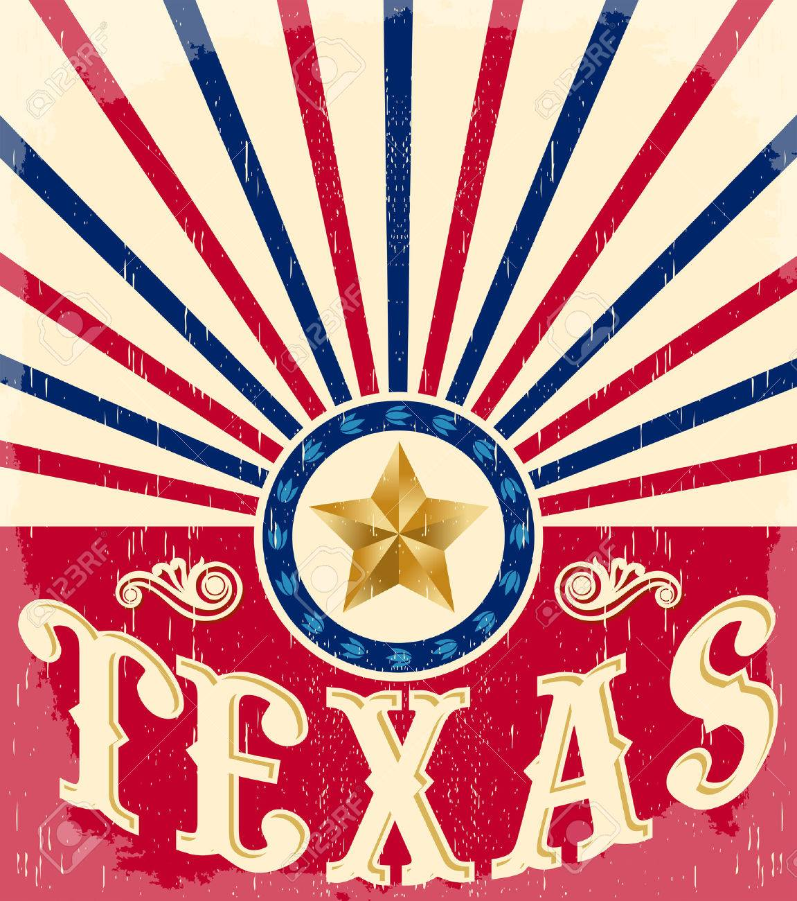 Texas Vintage poster - Card - western - cowboy style, Grunge effects can be easily removed - 42939608