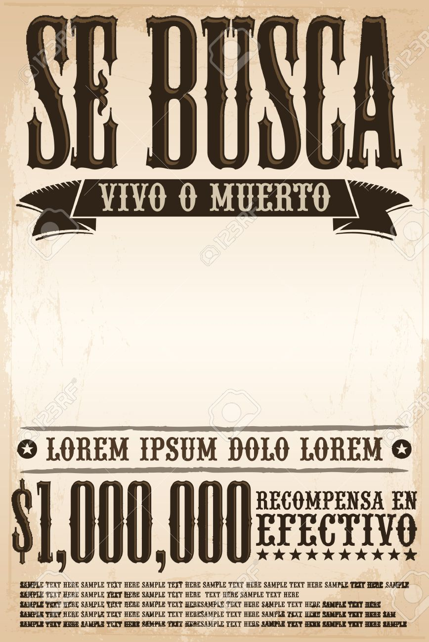 Se Busca Vivo O Muerto Wanted Dead Or Alive Poster Spanish Text Template