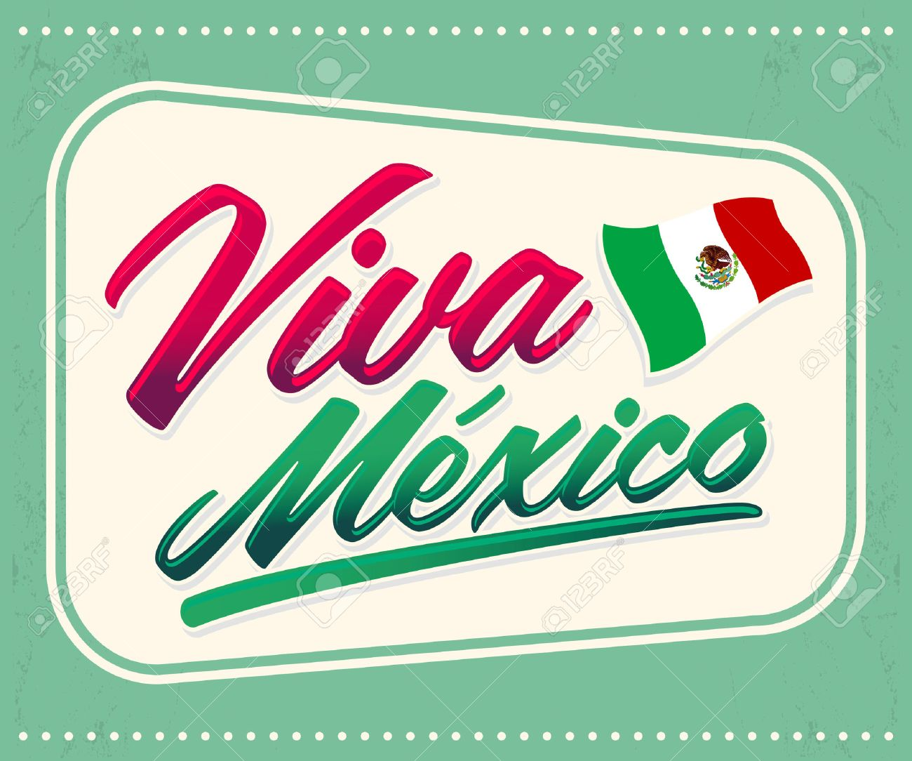 Viva Mexico - mexican holiday lettering - icon emblem vector decoration - 44296277