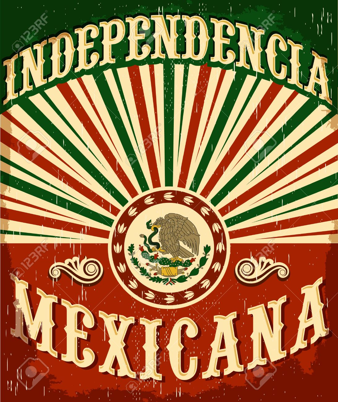 Independencia Mexicana - Mexican independence vintage poster design - mexican flag patriotic colors - 44671190