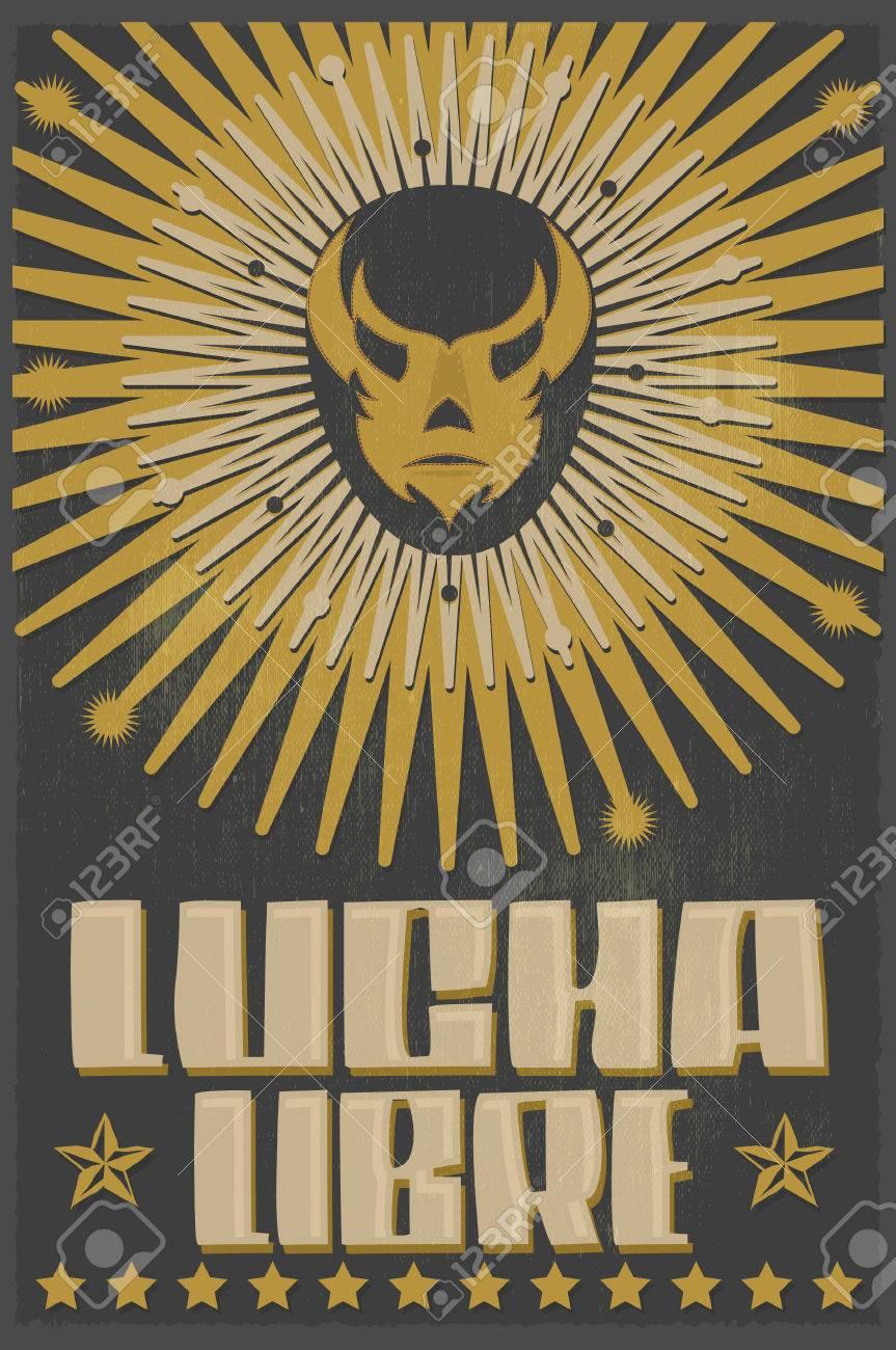 Lucha Libre - luchando texto español - máscara de luchador mexicano - cartel de la serigrafía Foto de archivo - 46017582