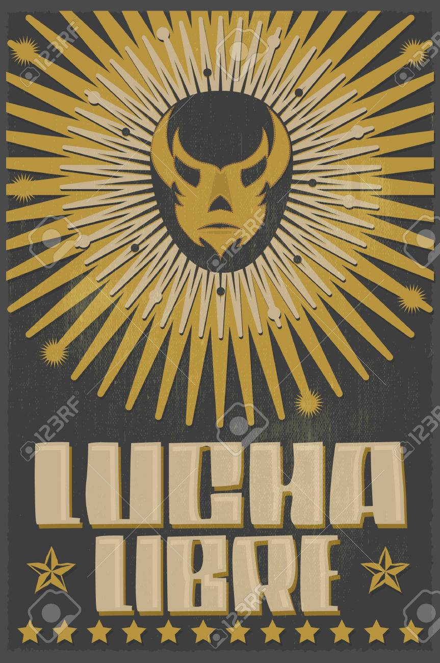 Lucha Libre - wrestling spanish text - Mexican wrestler mask - silkscreen poster - 46017582
