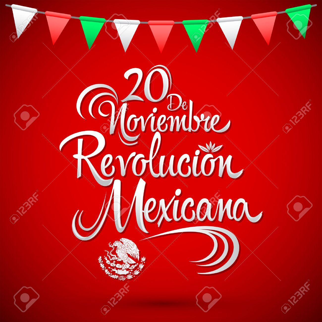 20 de Noviembre Revolucion Mexicana - November 20 Mexican Revolution Spanish text, vector lettering design, Traditional mexican Holiday - 48097245