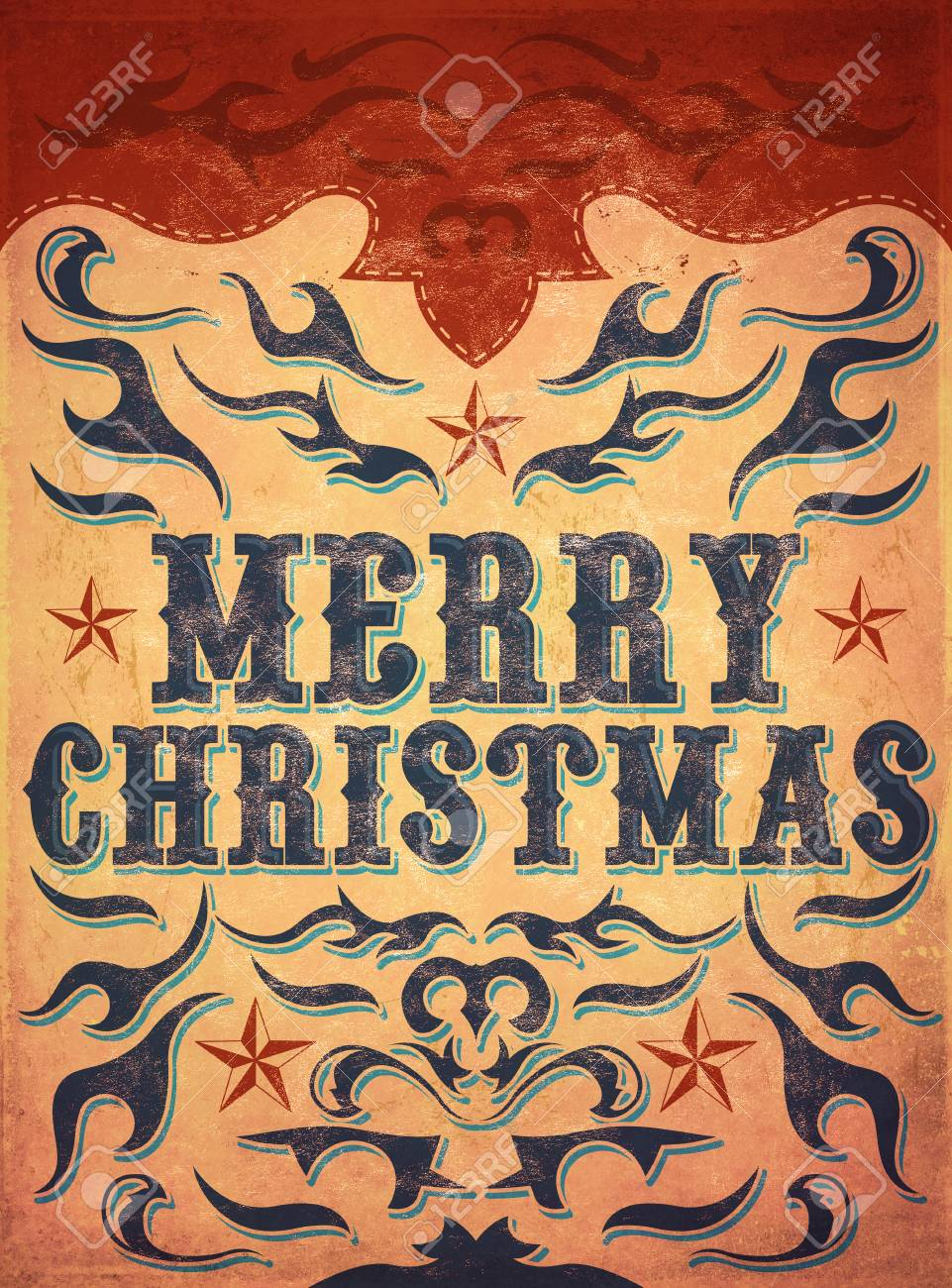 Old Sign, Vintage Merry Christmas Poster - Wild Western Illustration ...