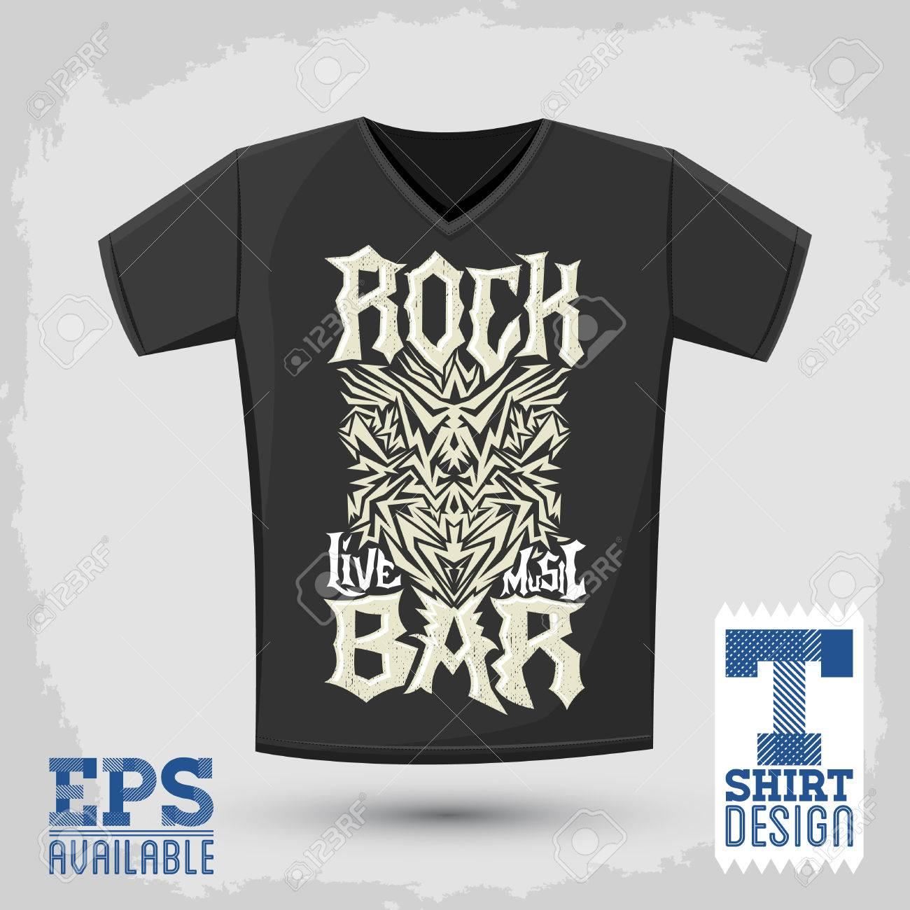 Rock Bar T Shirt Design Template Silkscreen Metal Style Vector