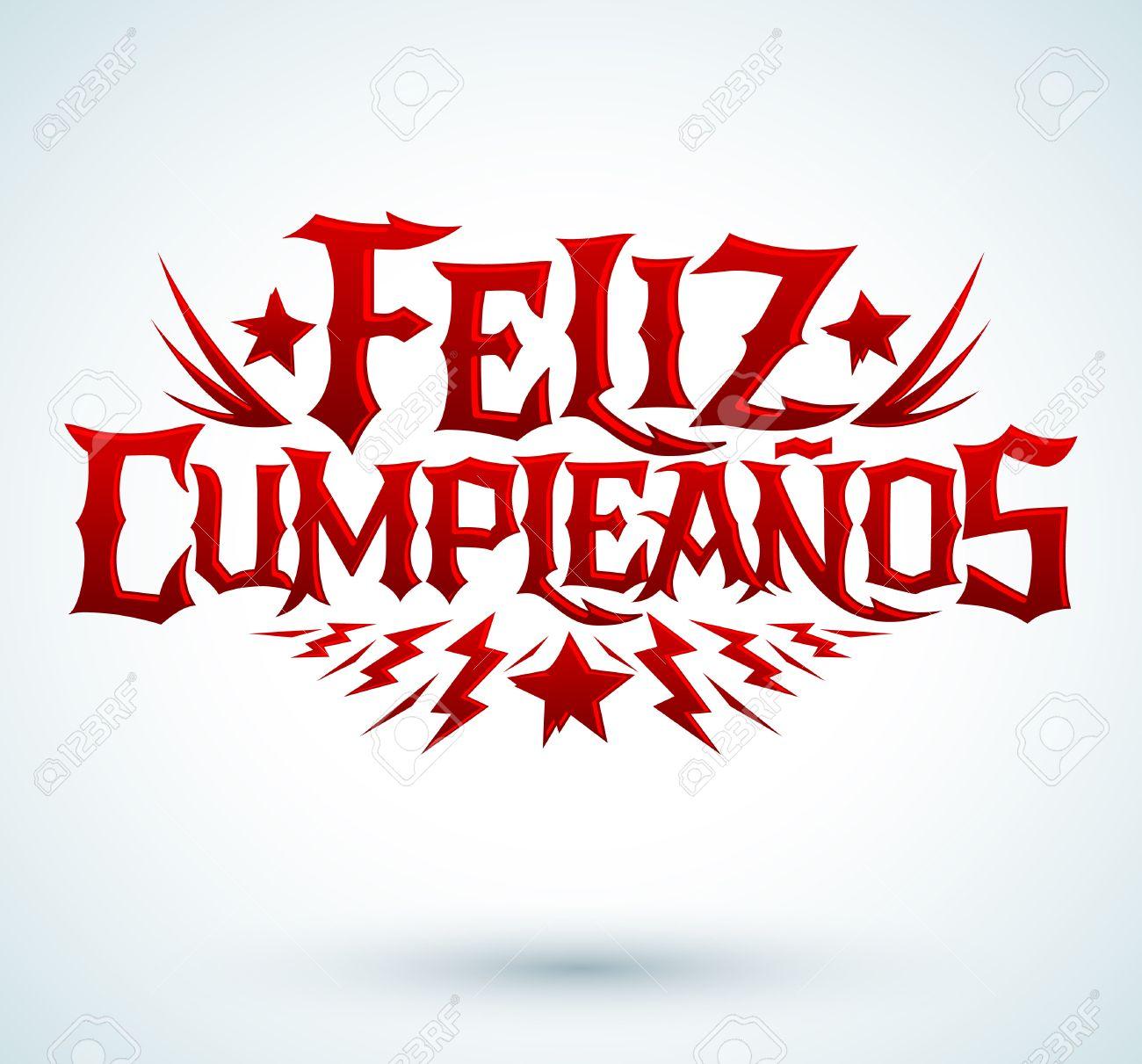 Feliz Cumpleanos Happy Birthday Spanish Text Vector Hardcore