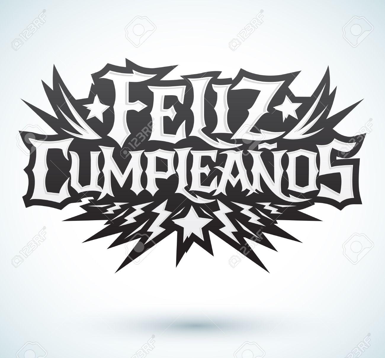 Feliz Cumpleanos Feliz Cumpleanos Texto Espanol Vector De Punk