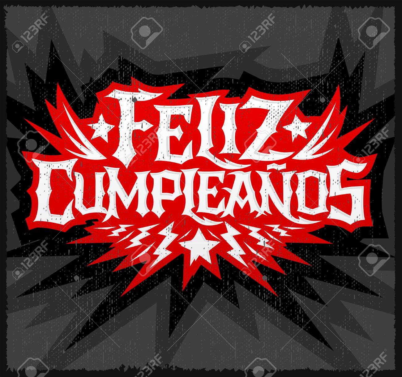 Feliz Cumpleanos Joyeux Anniversaire Espagnol Texte Vecteur Punk