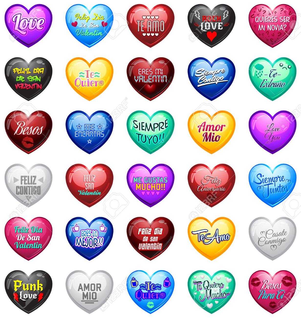 Love Hearts Avec Des Messages Espagnol étiquette De Coeur De Master Collection De Vecteur Avec Amour Valentines Anniversaire Relation Mariage Et