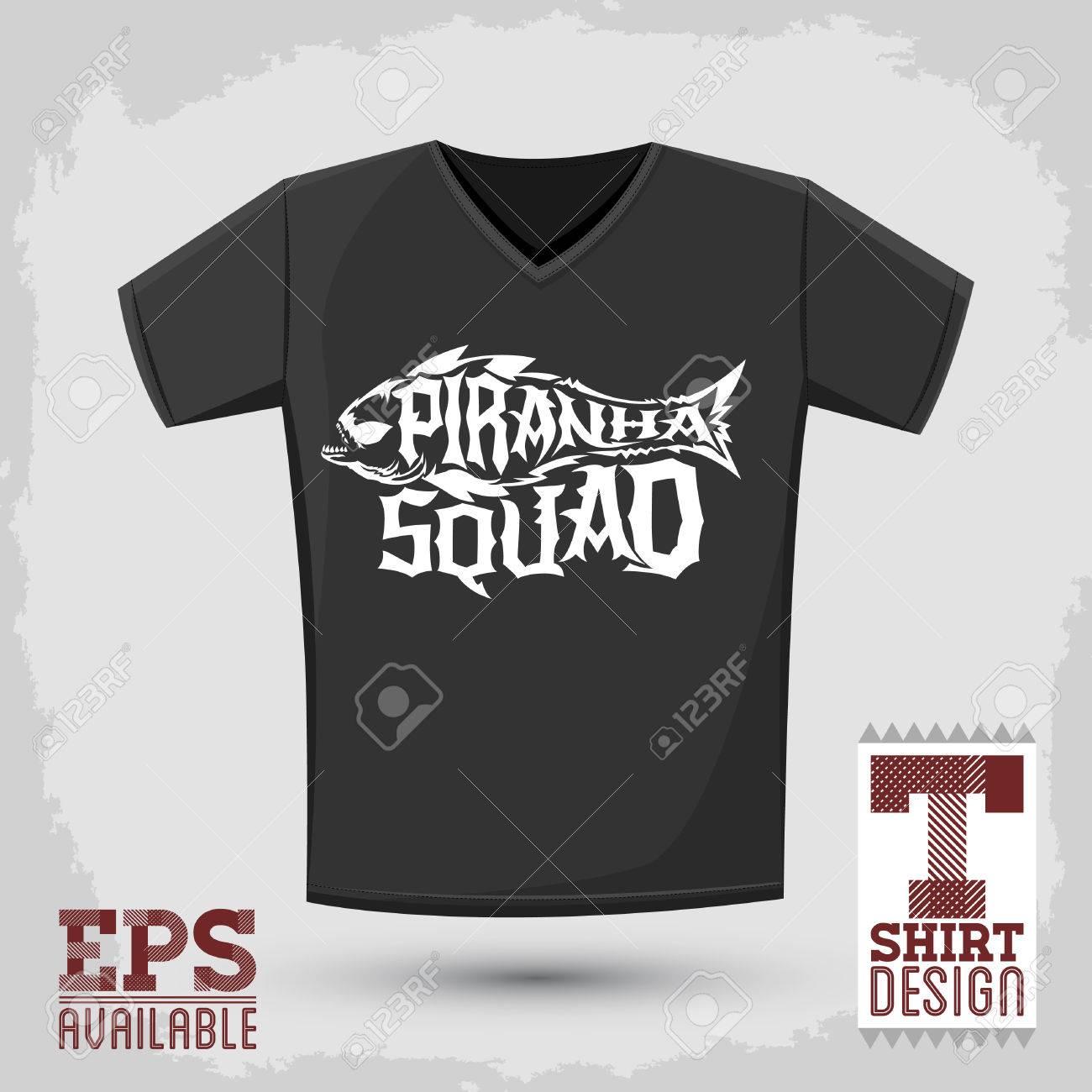 Piranha Plantilla - Emblema Plantilla Camiseta De La Impresión ...
