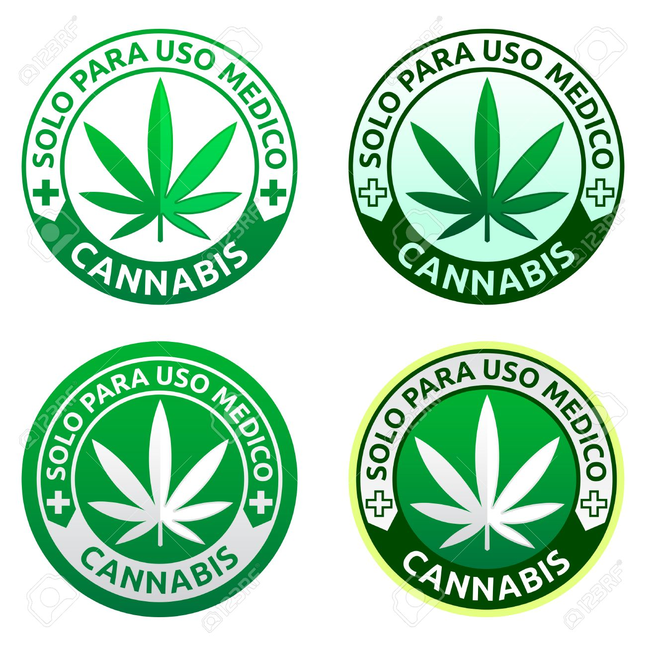 Cannabis, Solo para uso medico - Only for medical use spanish text, Medical Marijuana emblem collection, icon for medical dispensary - 60150685