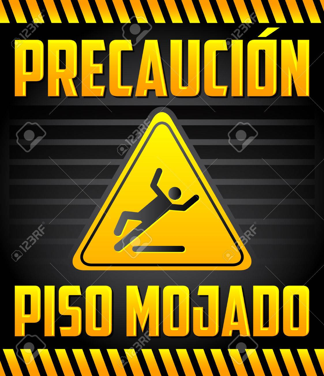 Piso Mojado Precaucion   Caution Wet Floor Spanish Text   Warning And  Cleaning In Progress Sign