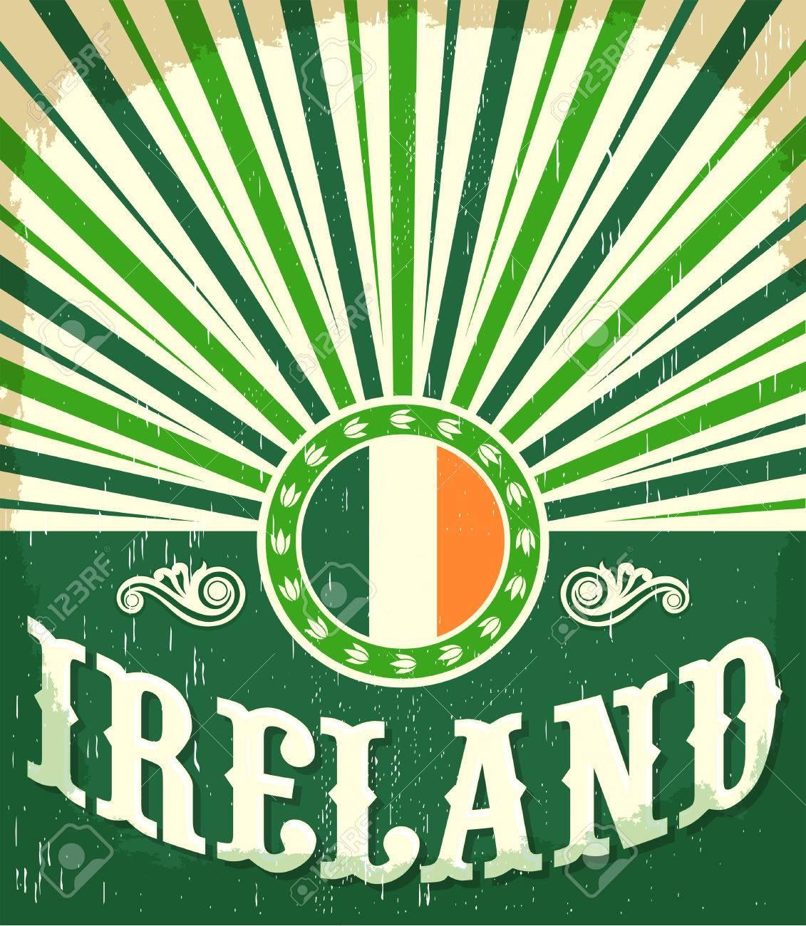 c1f38ce5252c Ireland Vintage Old Poster With Irish Flag Colors - Design