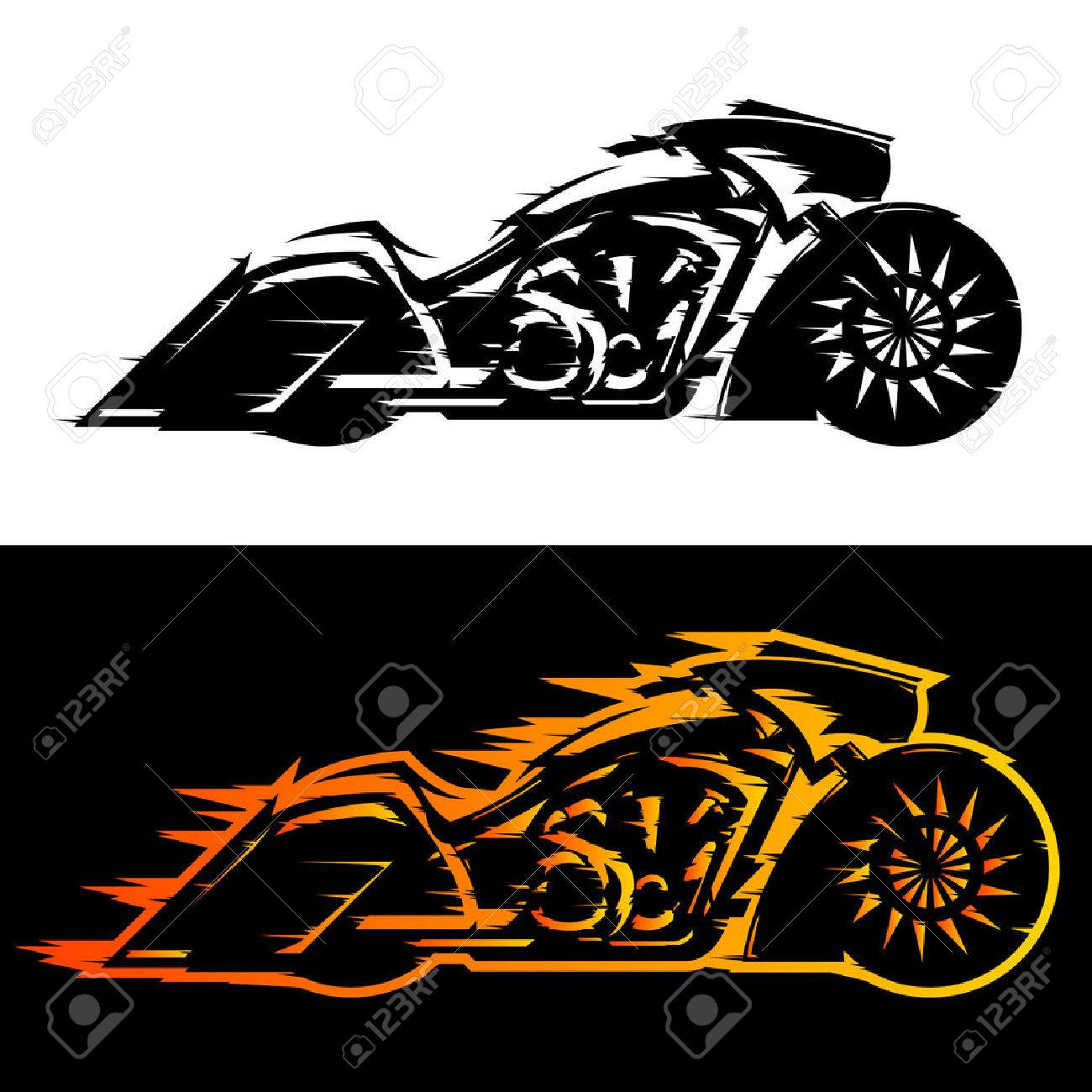 Bagger style motorcycle vector illustration, Baggers custom motorbike covered in flames - 62192100