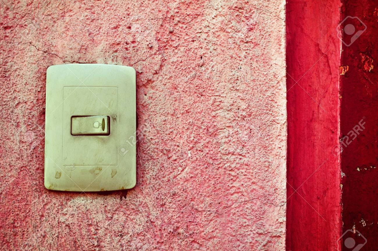 Plastic Light Switch Box, Vintage Mexican Door Bell And Red Wall ...