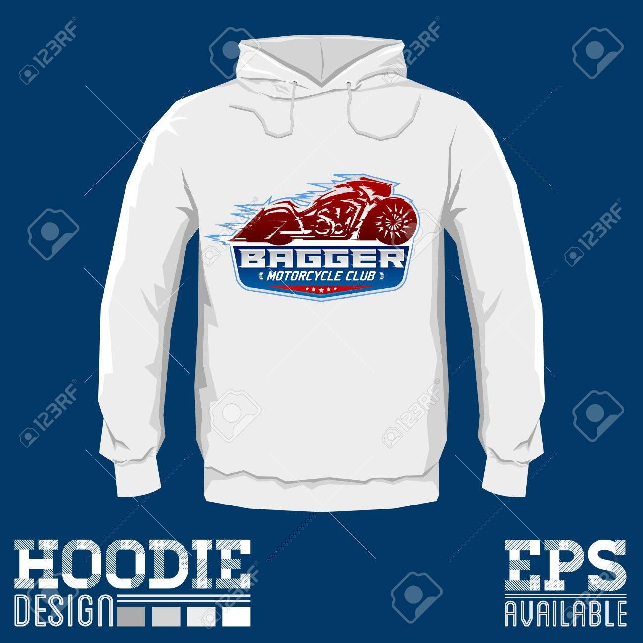 Bagger Motorcycle Club Vector Hoodie Print Design, Sweatshirt ...