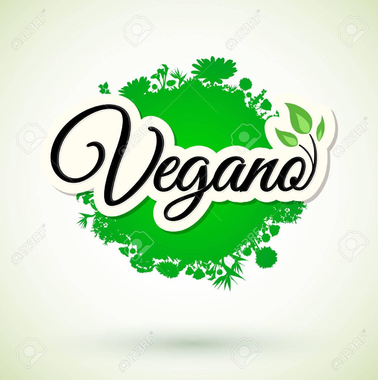 Vegano - Vegan spanish text, icon design  Green vegan friendly