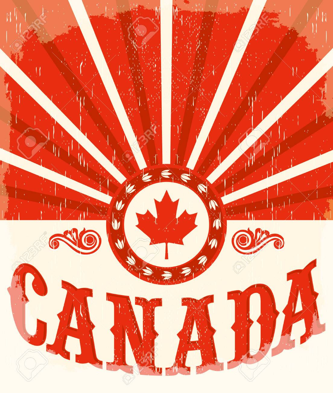 Canada Vintage Old Poster With Canadian Flag Colors, Vector Design ...