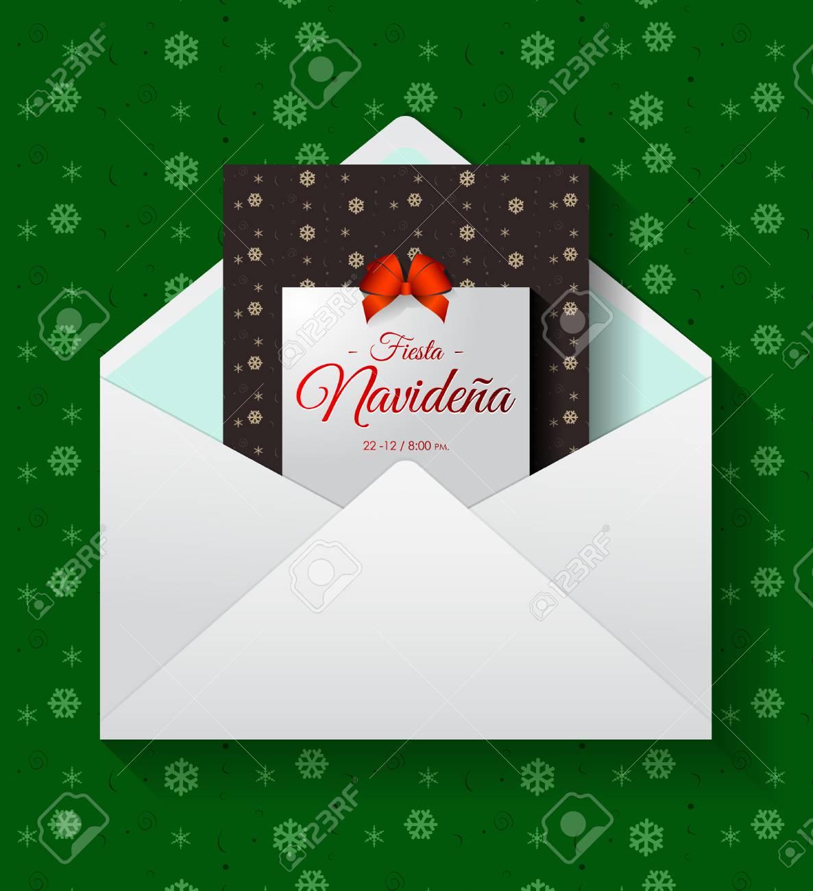 Fiesta Navideña Traducción Española Fiesta De Navidad Invitación De Tarjeta De Vacaciones De Vector